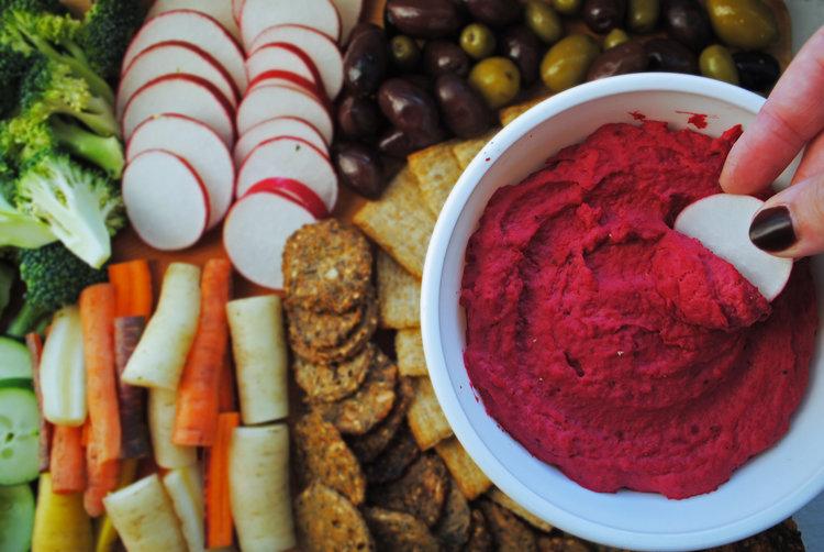 Beet Hummus + Crudité Board