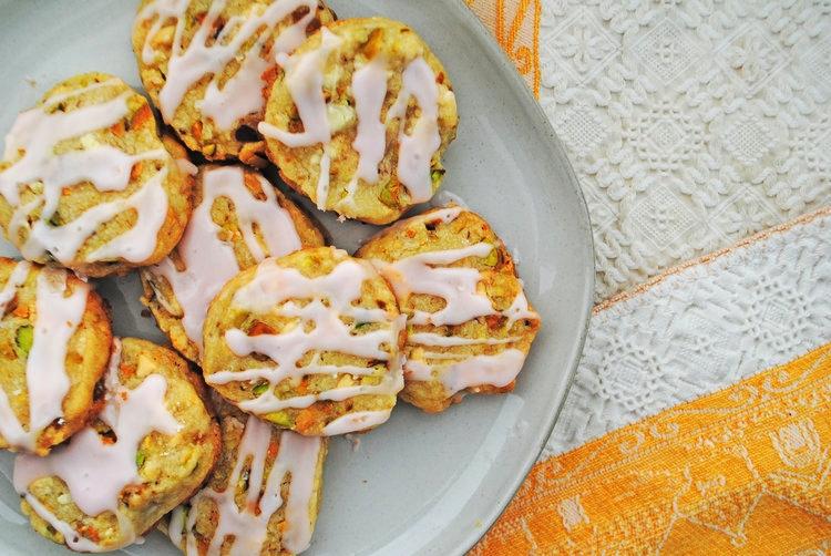 White Chocolate Pistachio Shortbread with Rhubarb Glaze