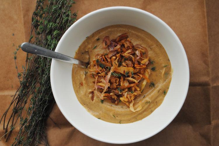 Roasted Sunchoke Soup with Caramelized Shallots