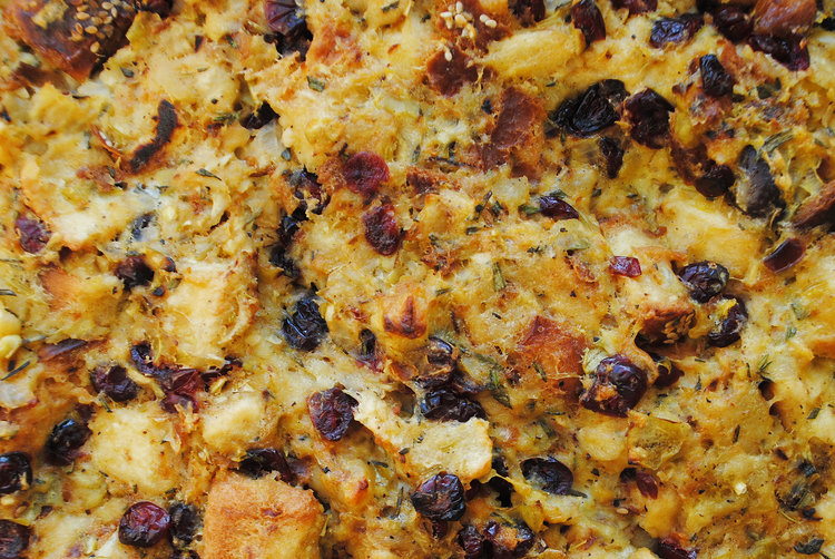 Challah Stuffing with Apples, Shallots + Cranberries