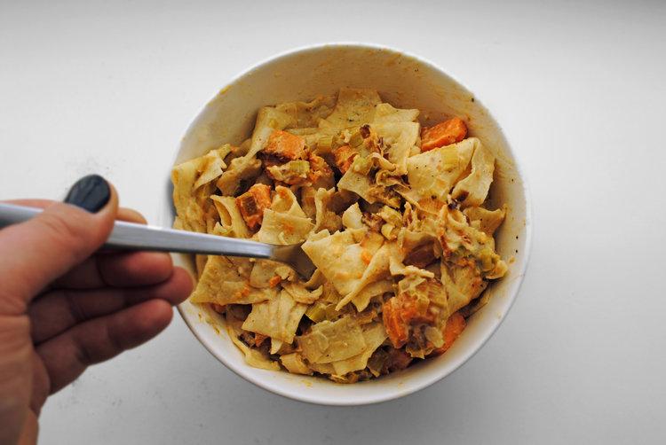 Roasted Sweet Potato + Caramelized Leek Pappardelle