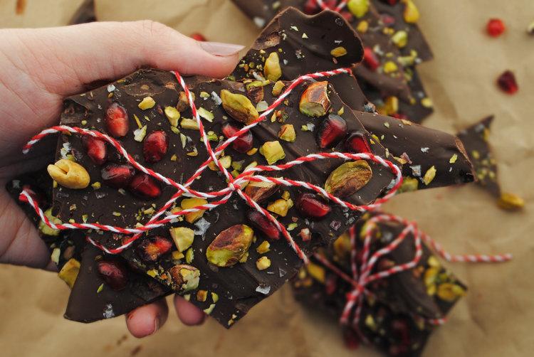 Pomegranate Pistachio Chocolate Bark