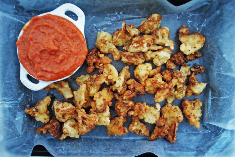 Rhubarb Barbecue Sauce + Fried Cauliflower Nuggets