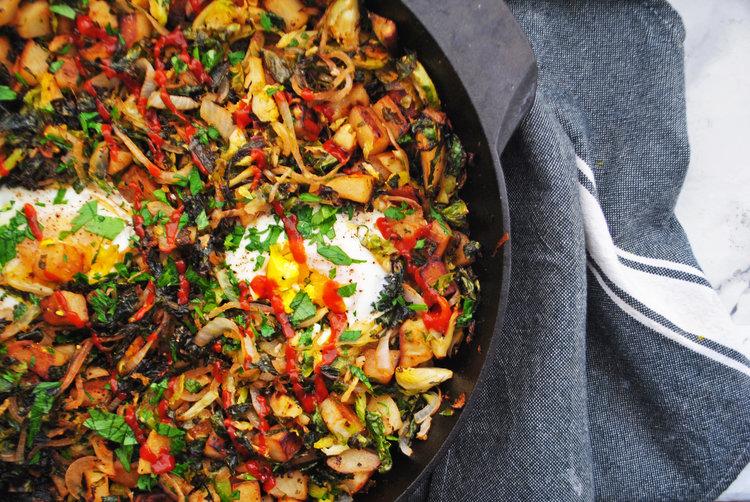 Crispy Kale, Brussels Sprouts + Potato Hash