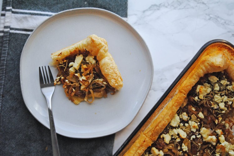Caramelized Onion + Feta Puff Pastry Tart