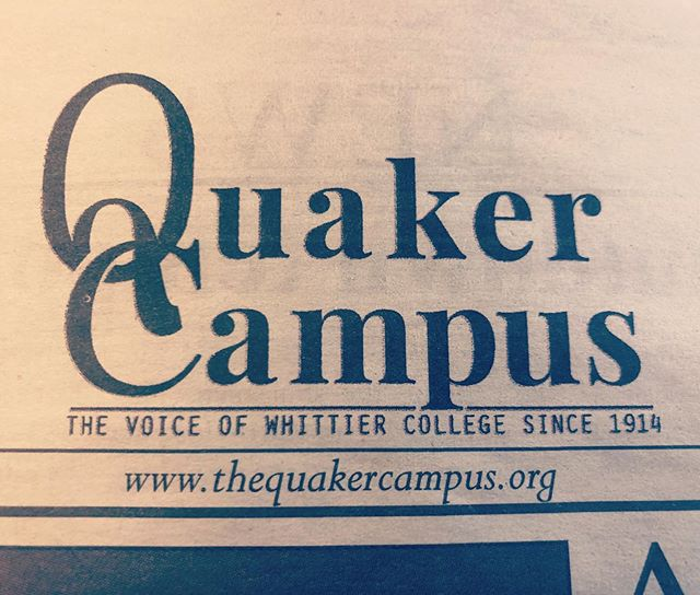 Don't forget to snag your #2/21 edition of the newspaper tomorrow! #quakercampus #newspaper #whittiercollege