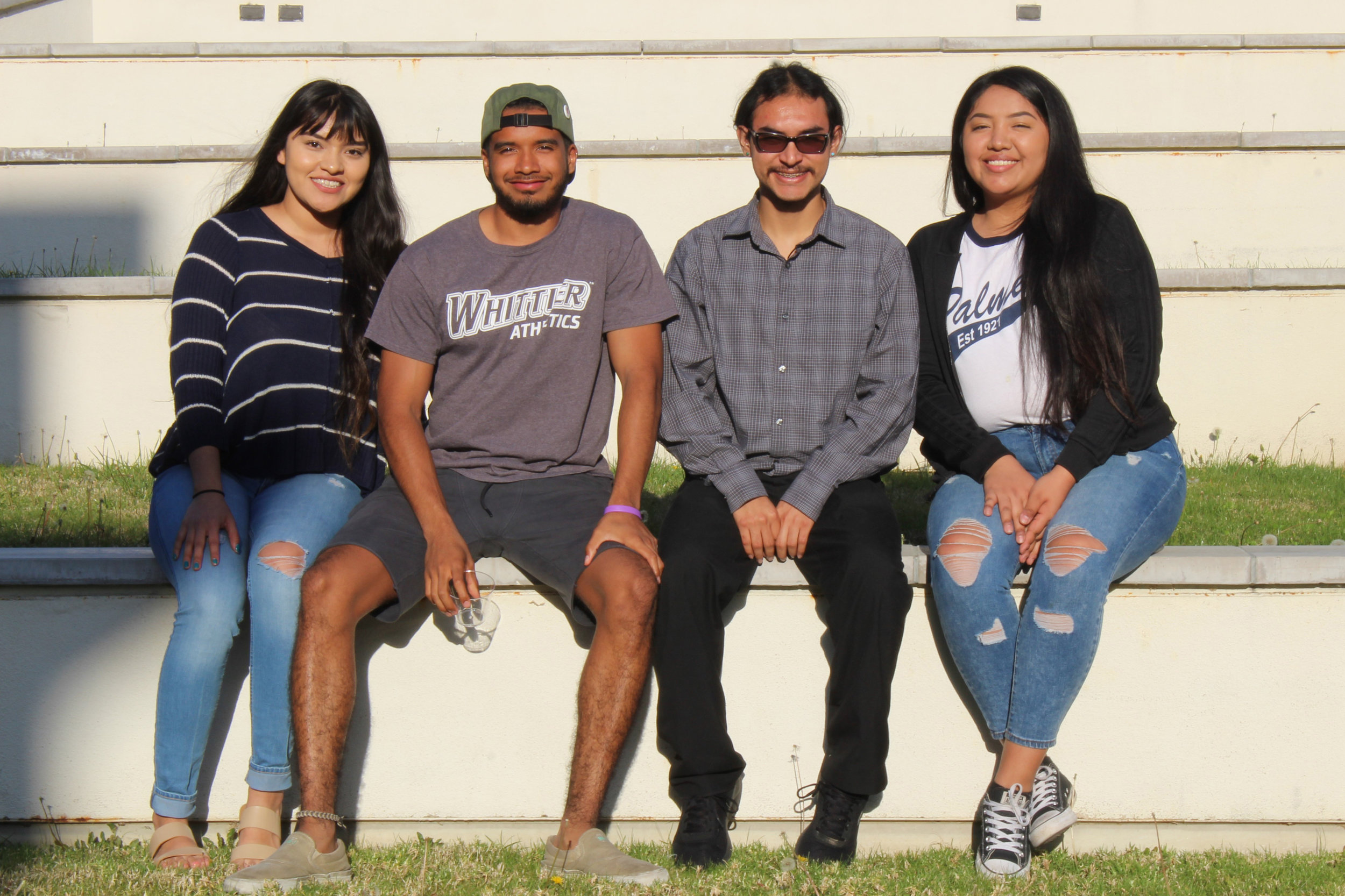 Alyssa Armstrong /  Quaker Campus    Founding members of new student organization (from left to right: Gracie Aragon, Ray Roberson, Esai Cervantes, Dynette Chavez) give a voice to indigenity and enrich diversity on campus.