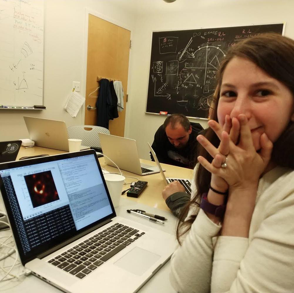 Dr. Katie Bauman reacting to the first image of a black hole.  COURTESY OF  YOURSTORY