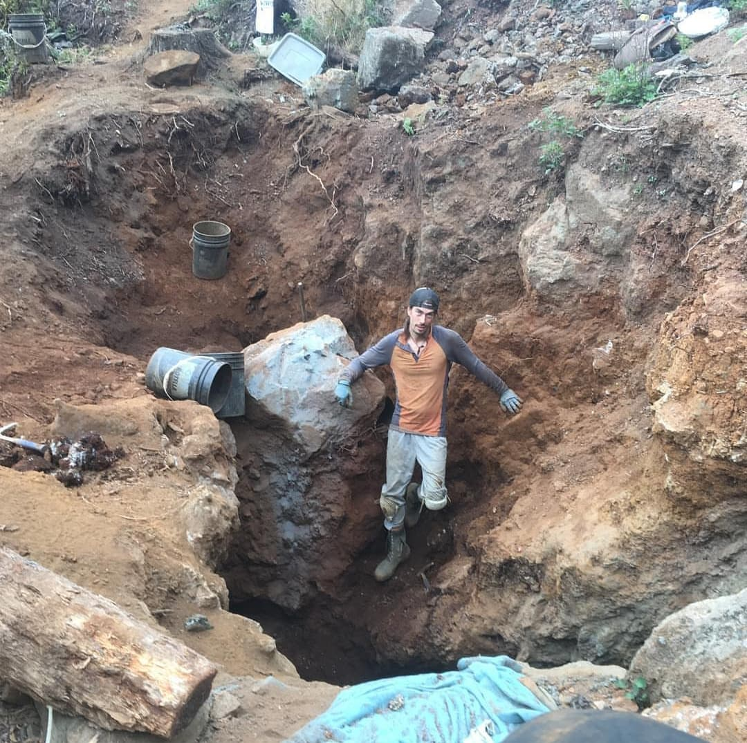 Chris Manahan on the Forest Crystals work site where mining is done by hand  photo submitted