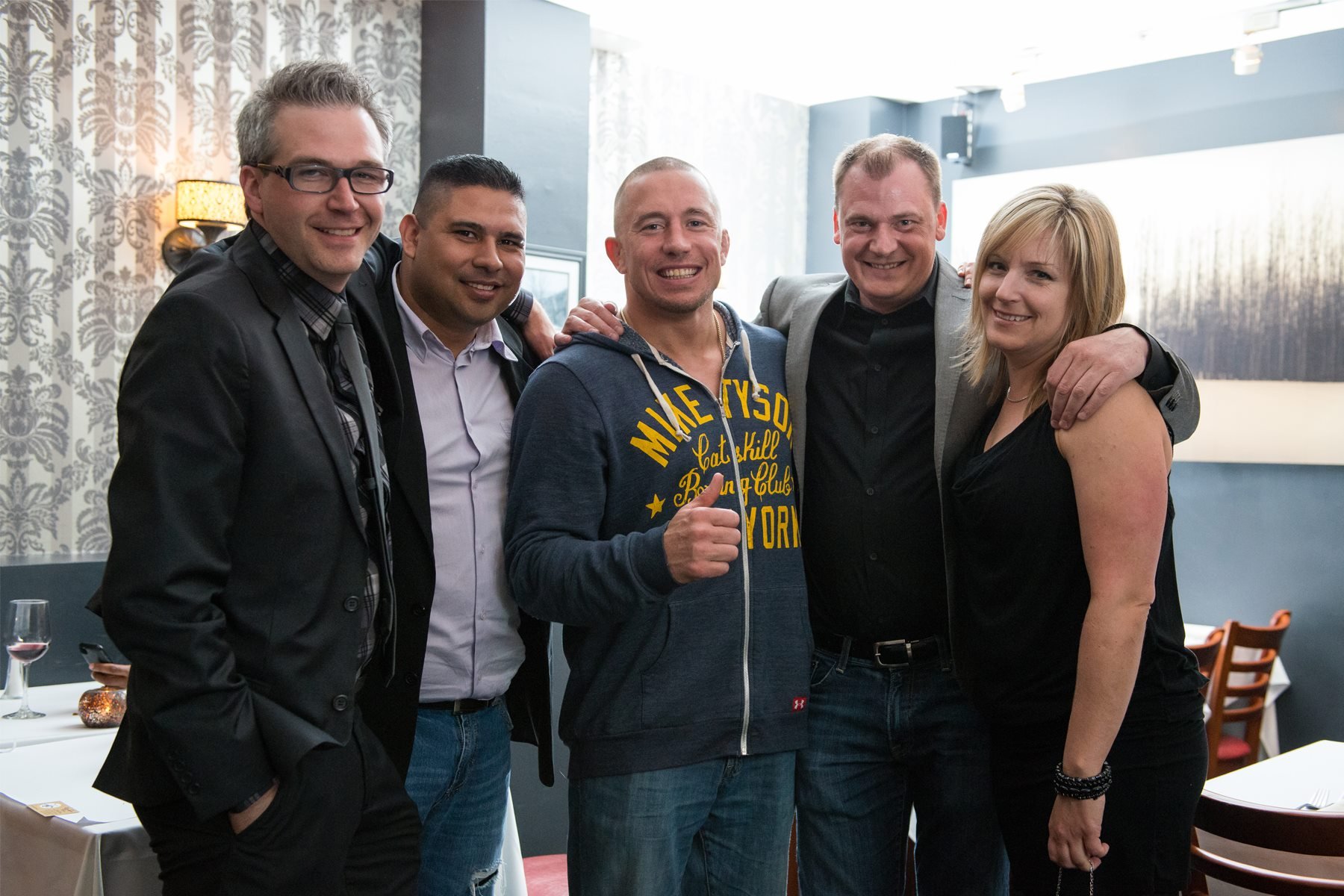 photo submitted: Kyle Bachman and team at the White Goose Bistro with MMA star George St. Pierre
