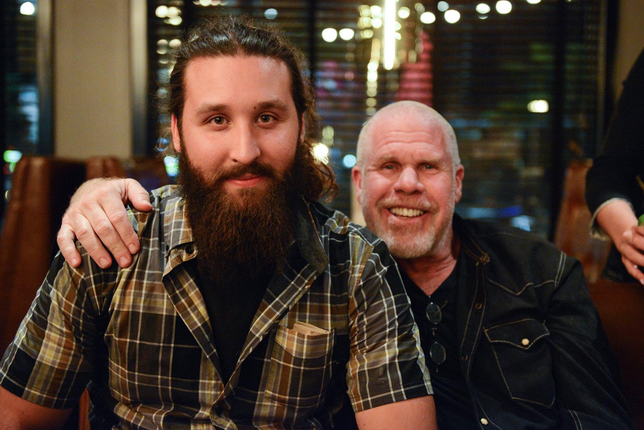 Christos at a pre-FanCon late night party with Ron Perlman. Photo credit…   Christos Sagiorgis!