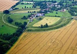 Ariel View of Stone Circle today, with a Crop circle in lower right corner.