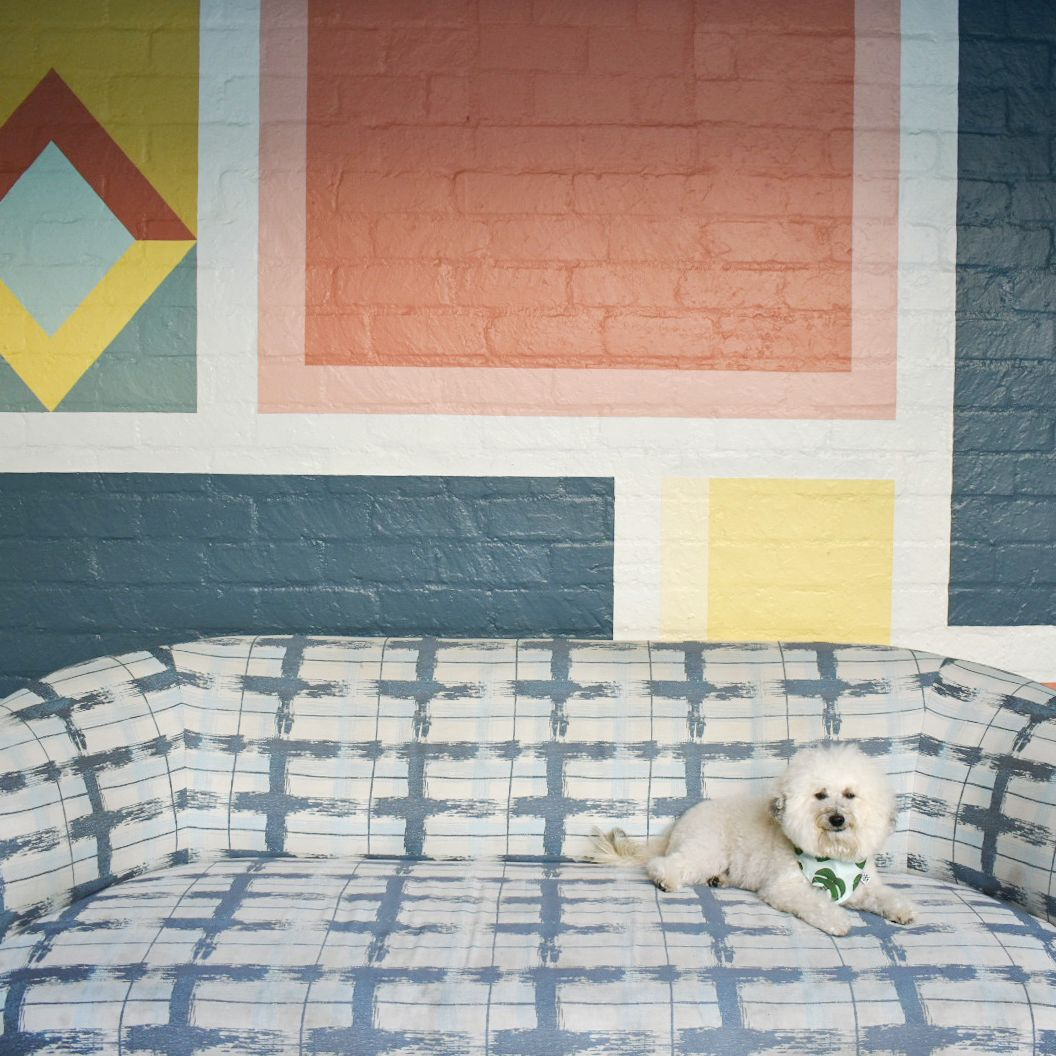Watson checking out the couch at Viviane Restaurant Avalon Hotel Beverly Hills | Watson & Walls