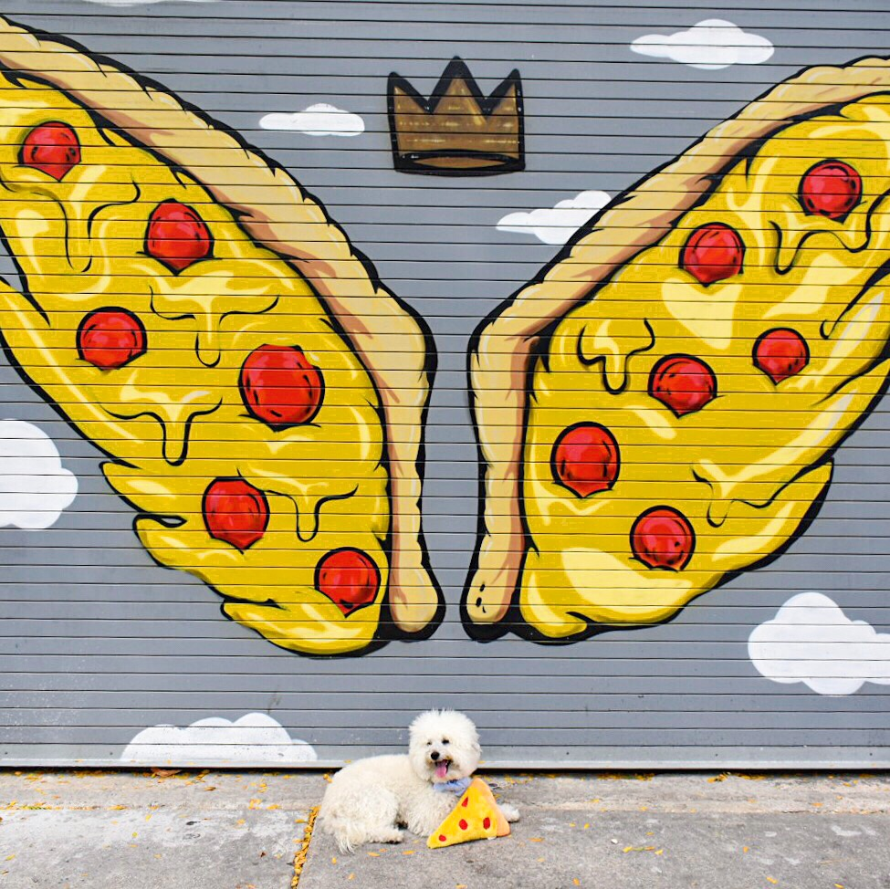 Pizza Wings mural by JC Rivera at Parlor Pizza West Loop Chicago, IL | Watson & Walls