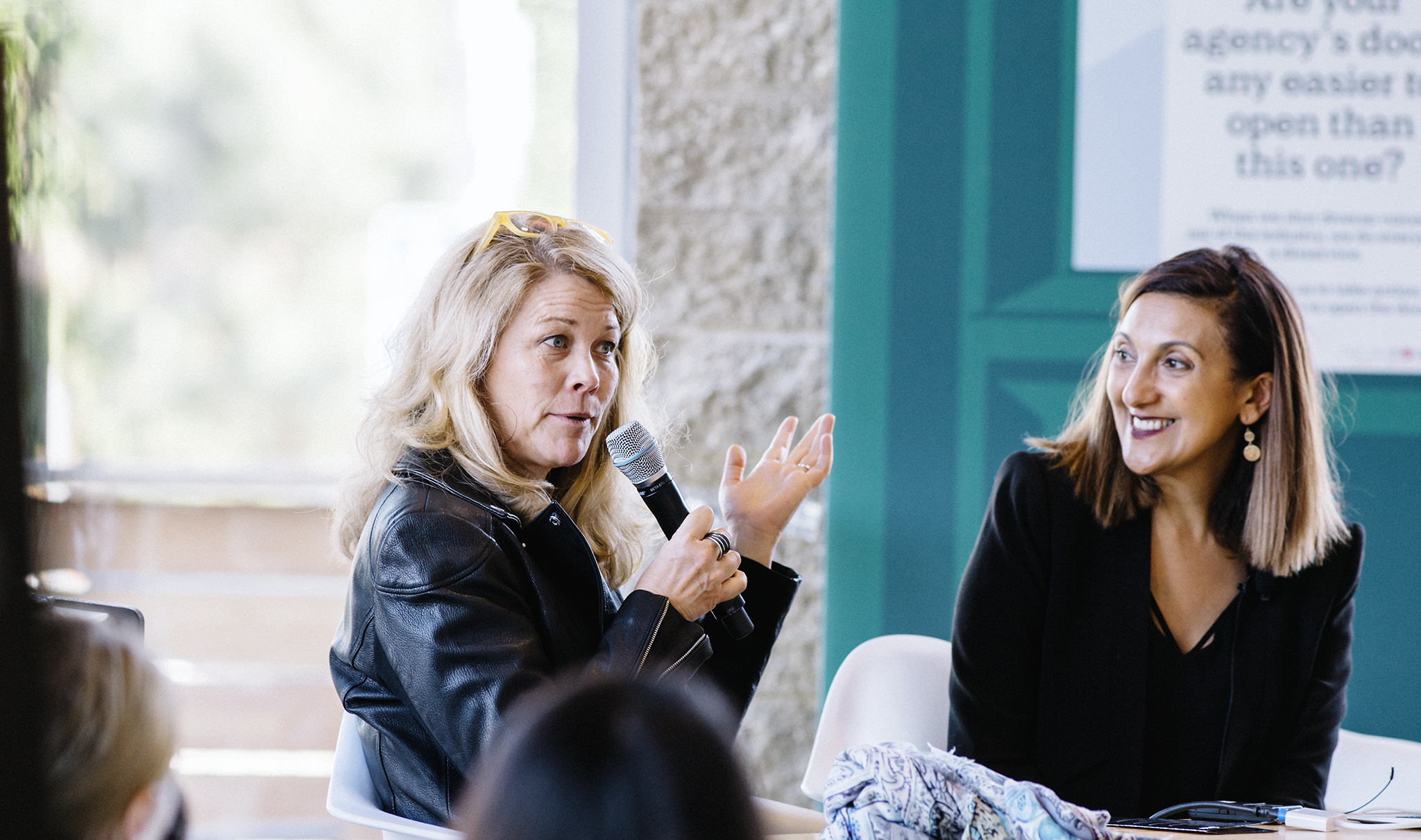 Lisen Stromberg, Chief Operating Officer at 3% converses with Amanda Enayati during a breakout session at the 3% Mini-Conference at the Steelhead headquarters in Los Angeles on April 26th, 2018.