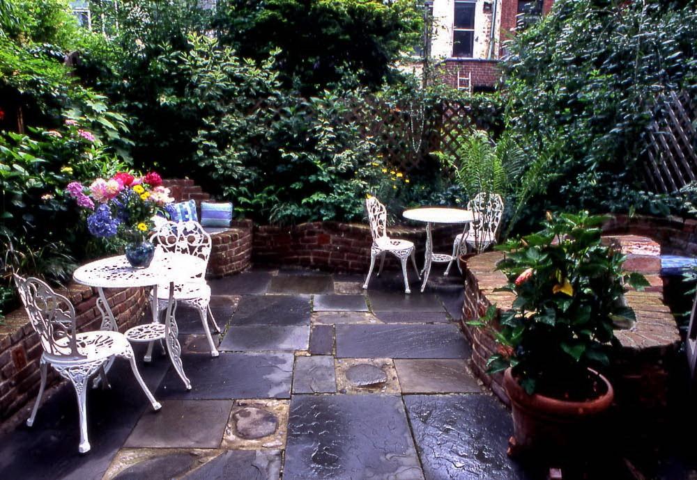 Camellias in the compact courtyard garden