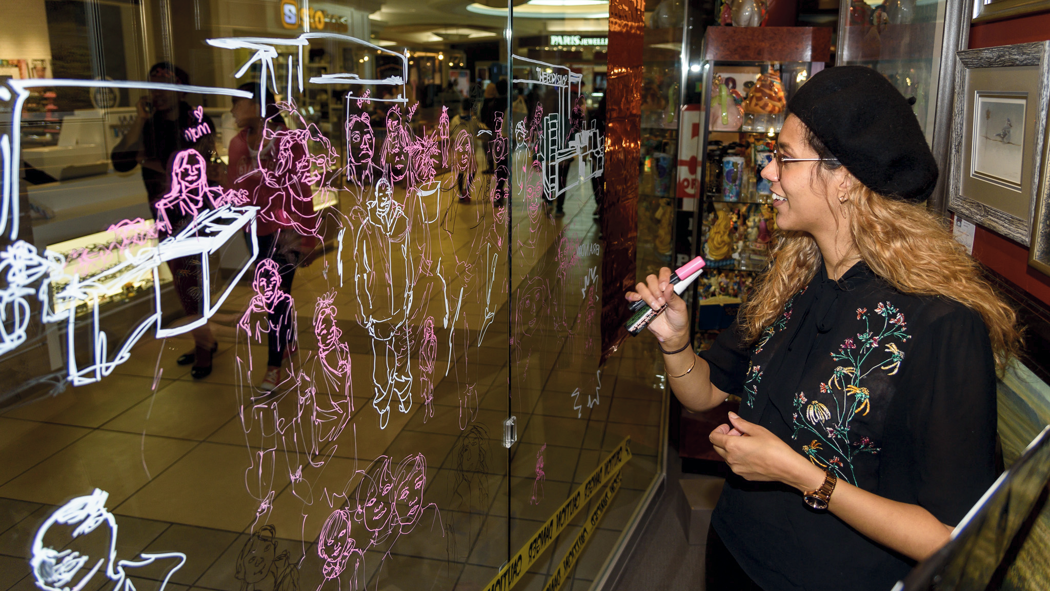 Window Event at Avenida Art Gallery in Market Mall. Photo credit: Pier Moreno
