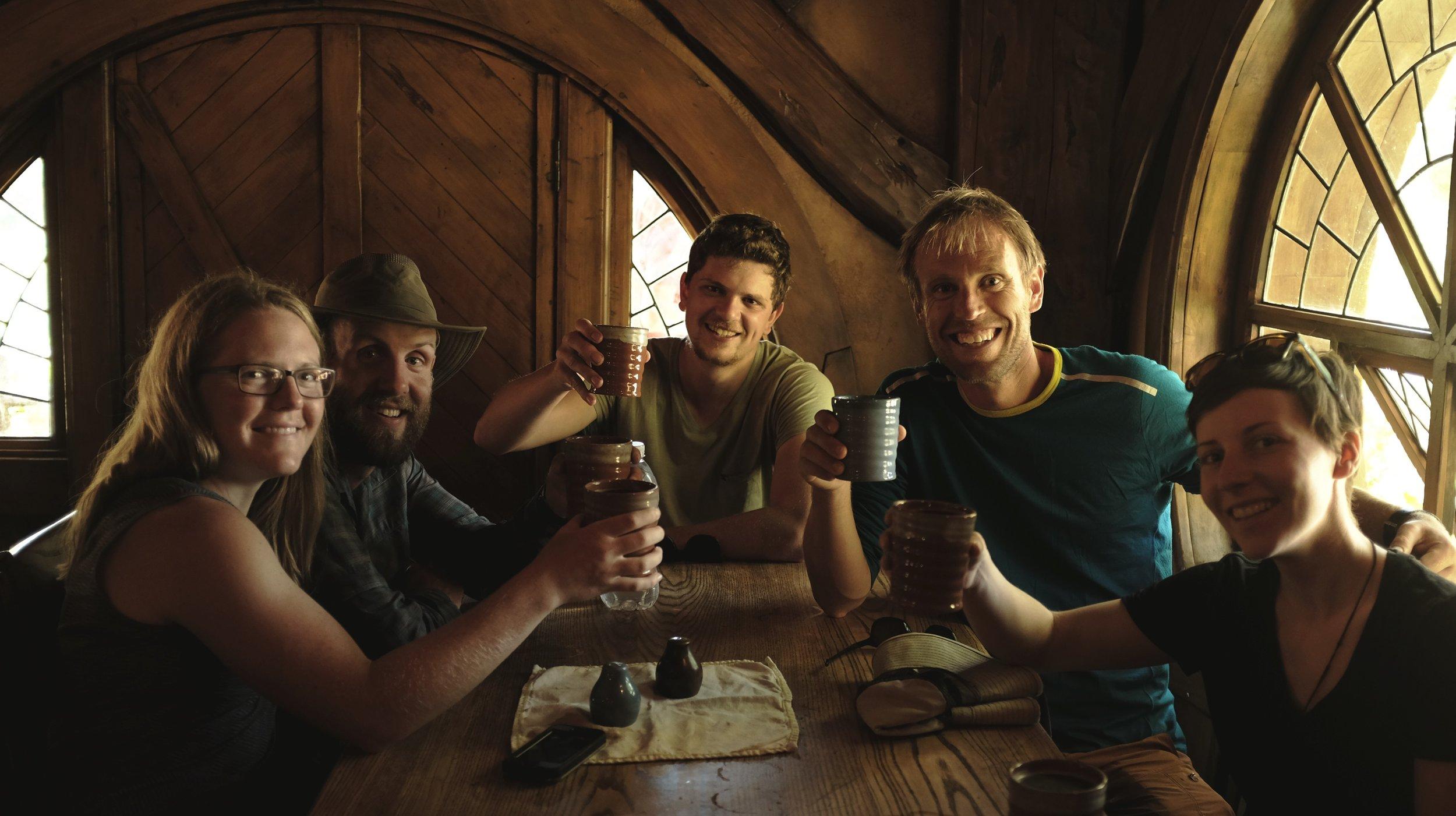 Enjoying a brew at the Green Dragon Inn!