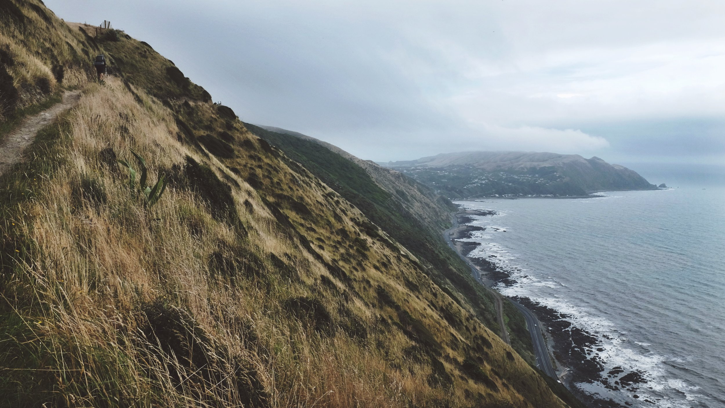Heights of the escarpment track far above highway 1