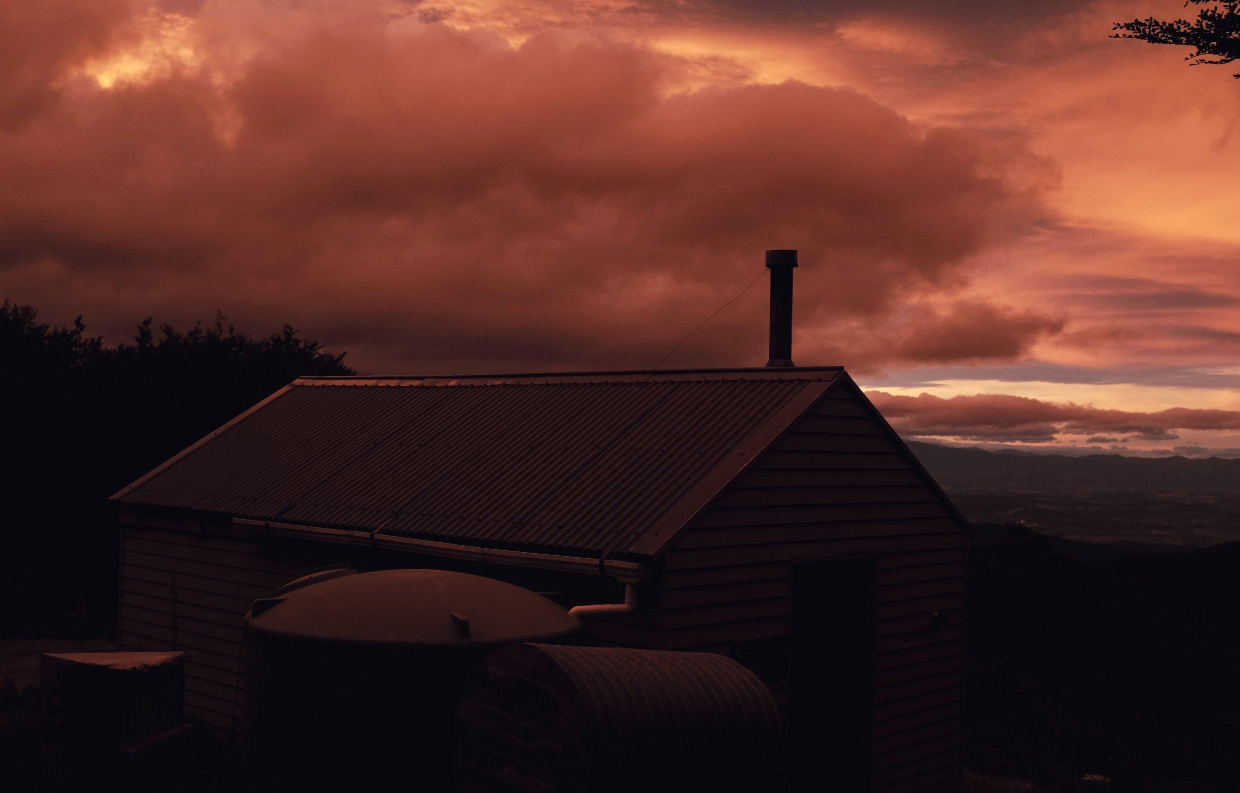 Sunset over Rintoul hut.