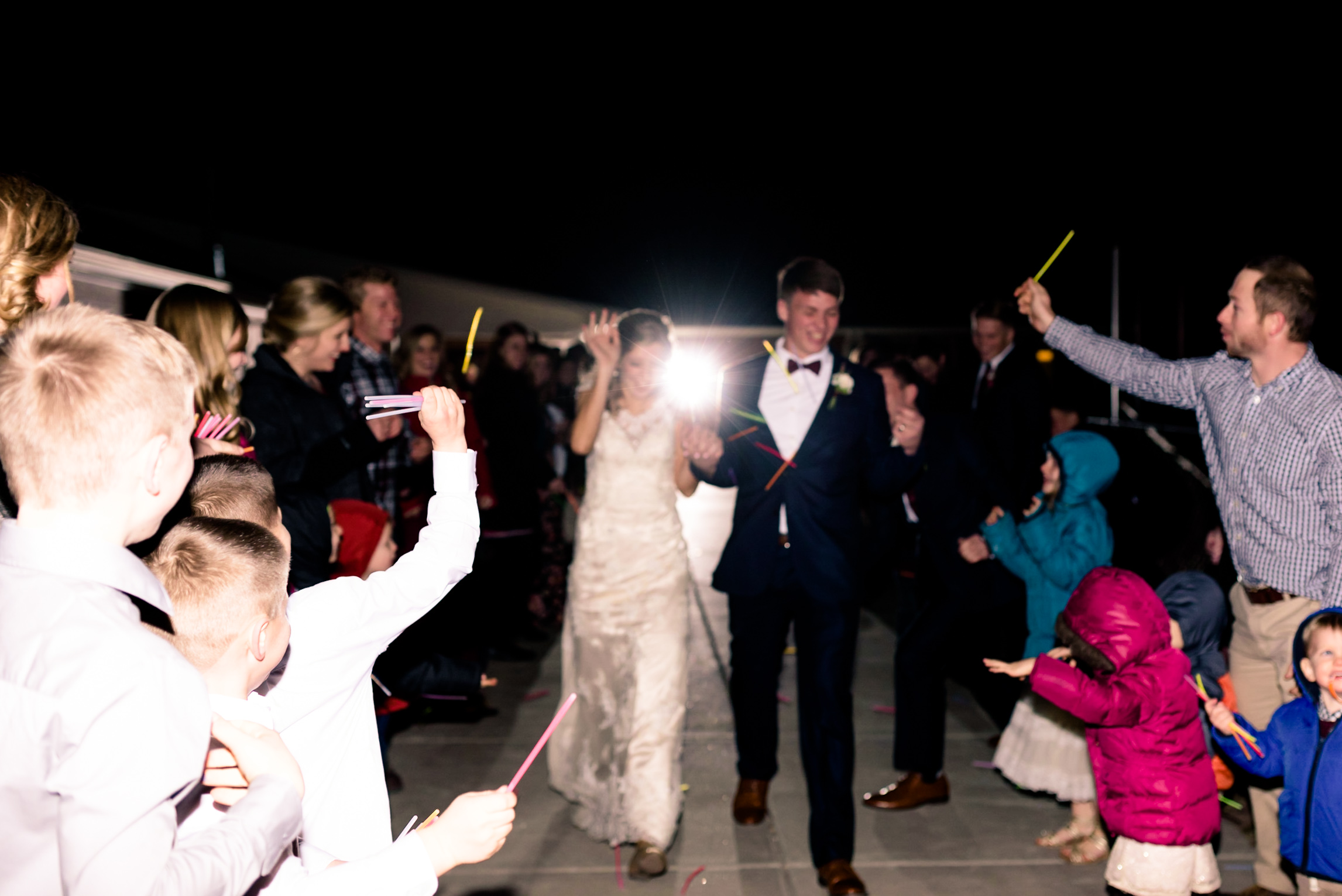 glow stick exit, wedding, night