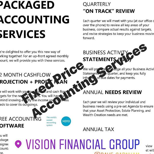 Fixed Price Accounting Services. #visionfinancialgroup #visionfg #xero #tax #taxplanning #mackay