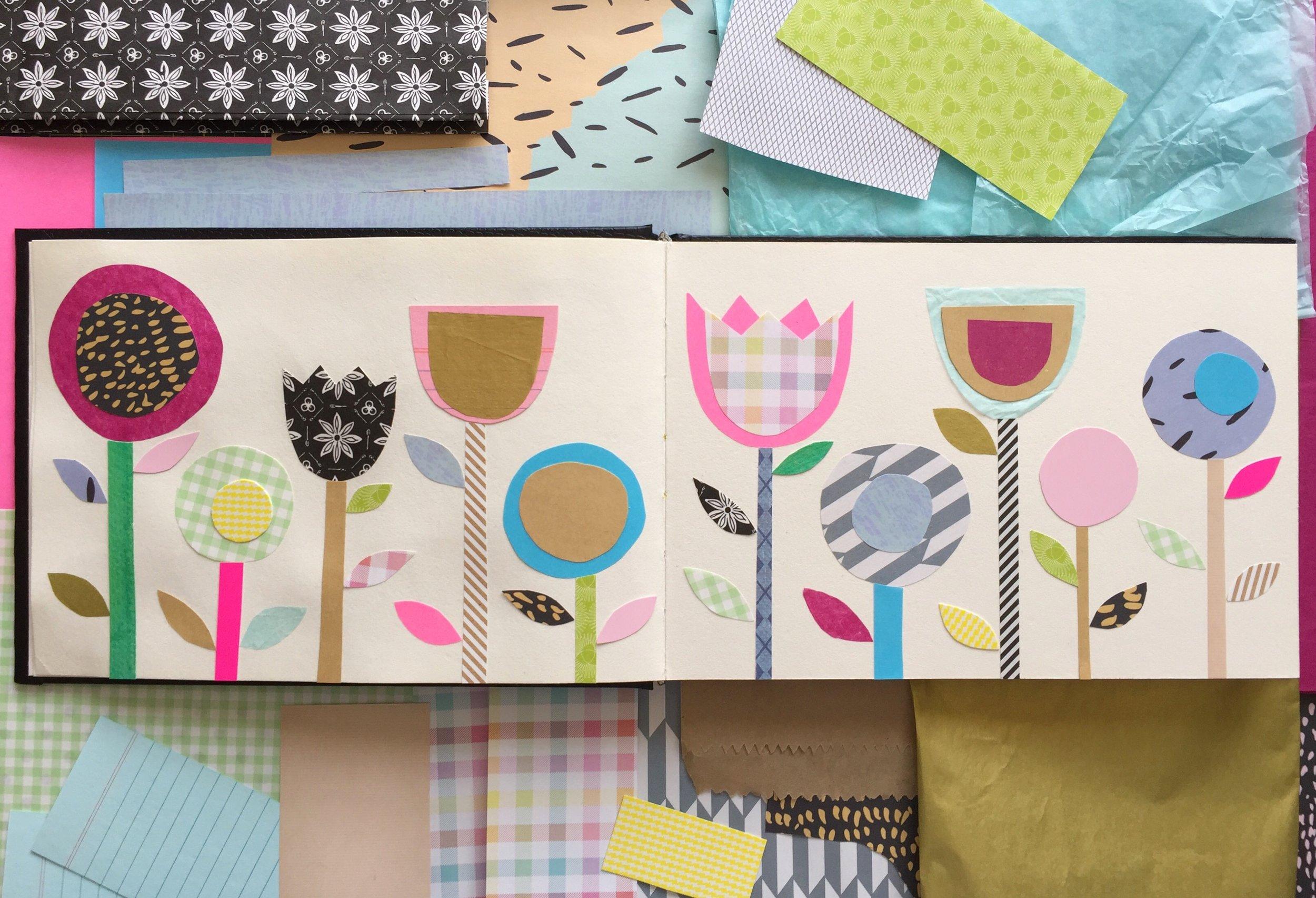 Sally Cummings Designs - Collaged Flowers sketchbook page
