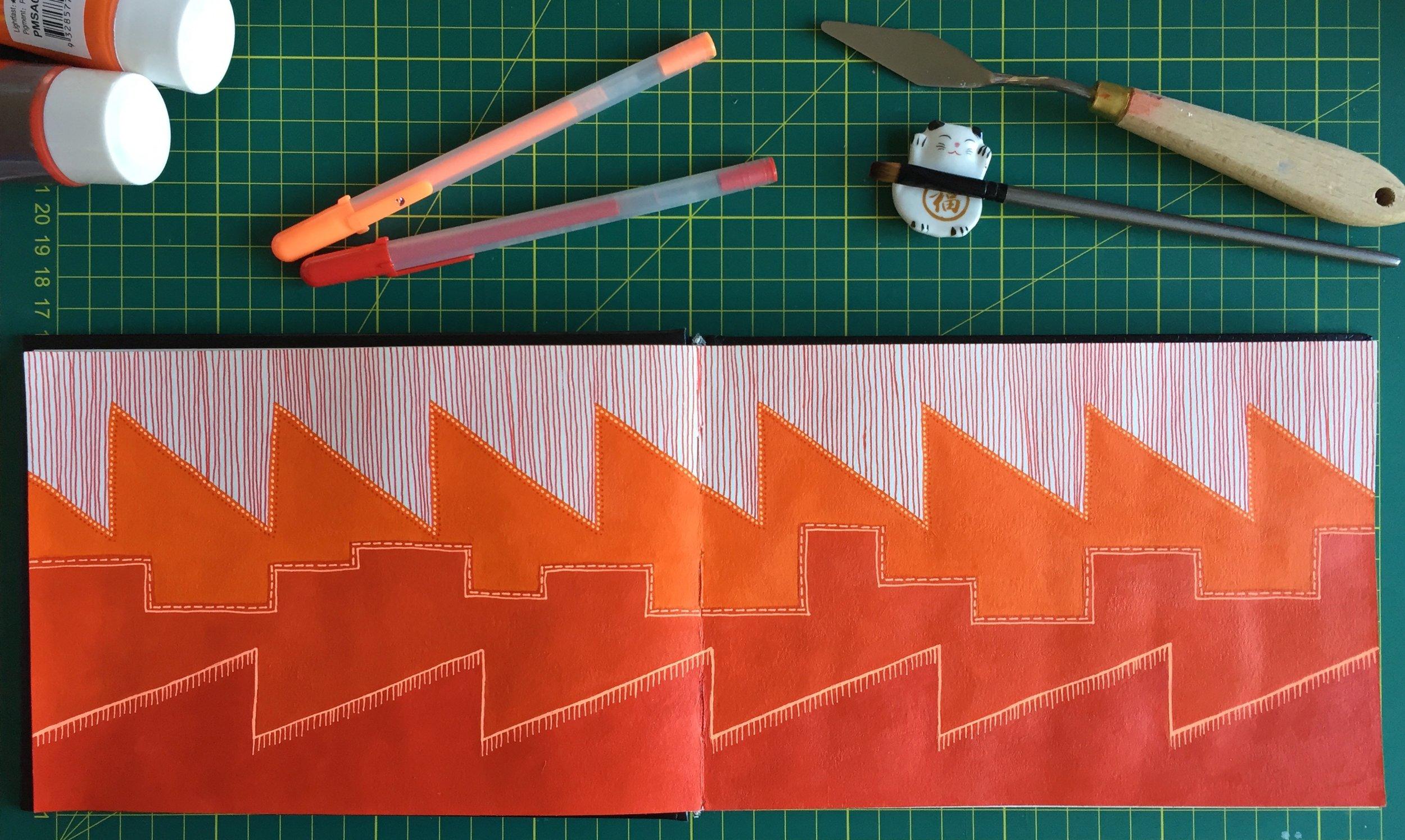 Sally Cummings Designs - Factory Skyline sketchbook page