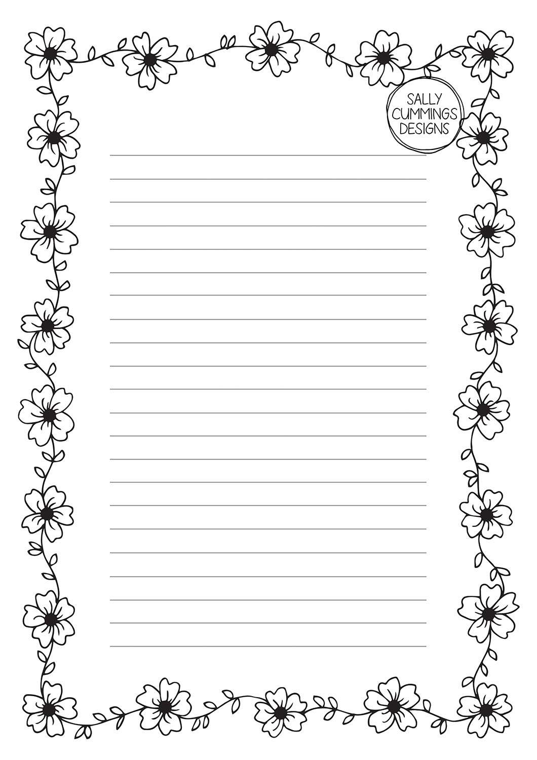 Cherry blossom writing paper - black and white