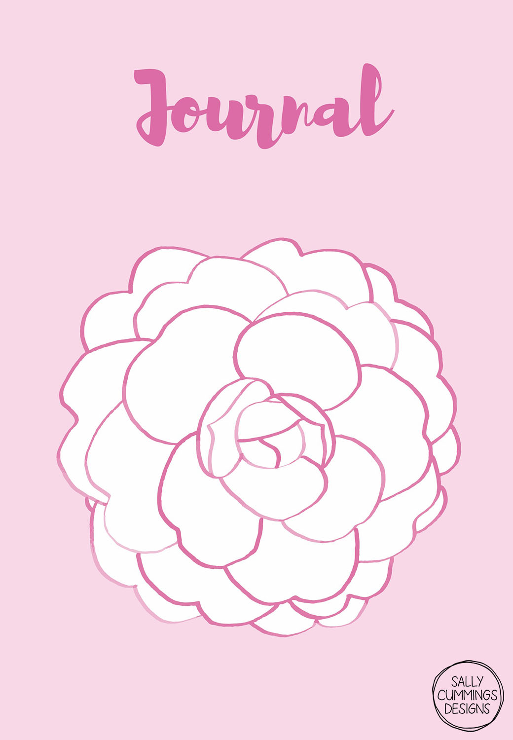 Sally Cummings Designs - Pink Camellia Journal Cover
