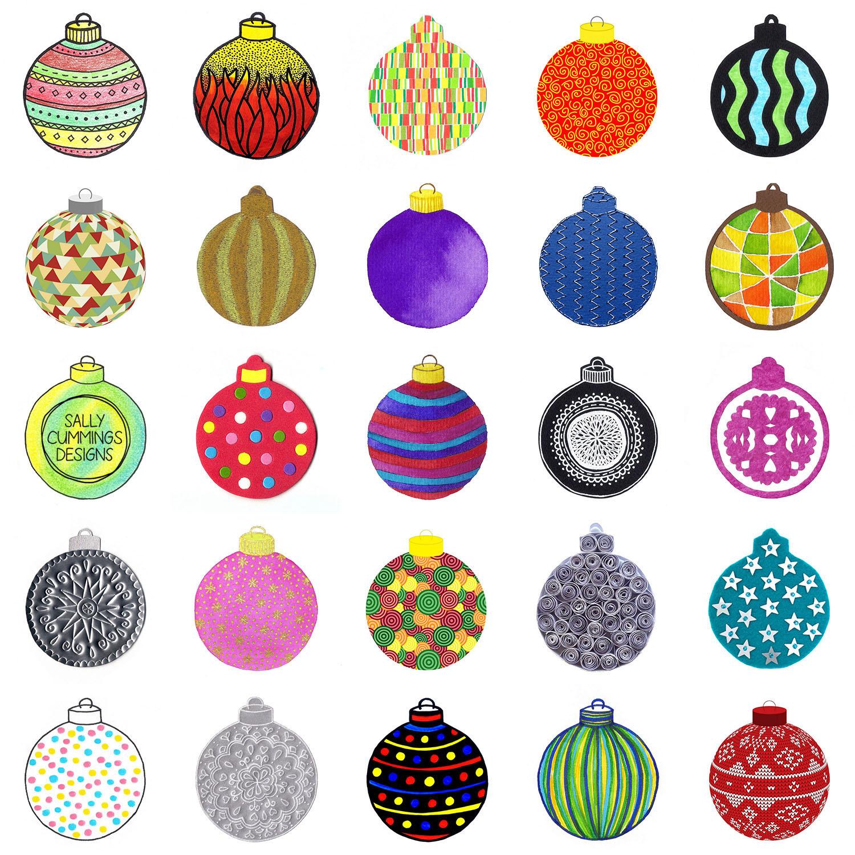 Sally Cummings Designs - Christmas Baubles (Advent 2016)