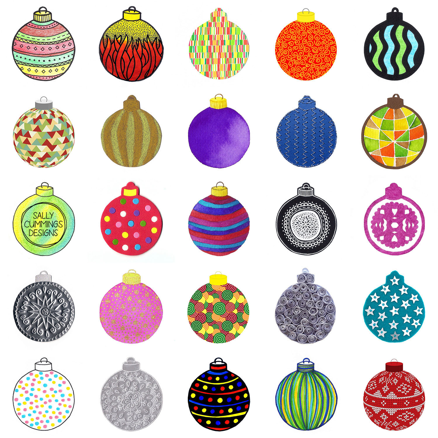 Set of Christmas baubles - Advent challenge 2016