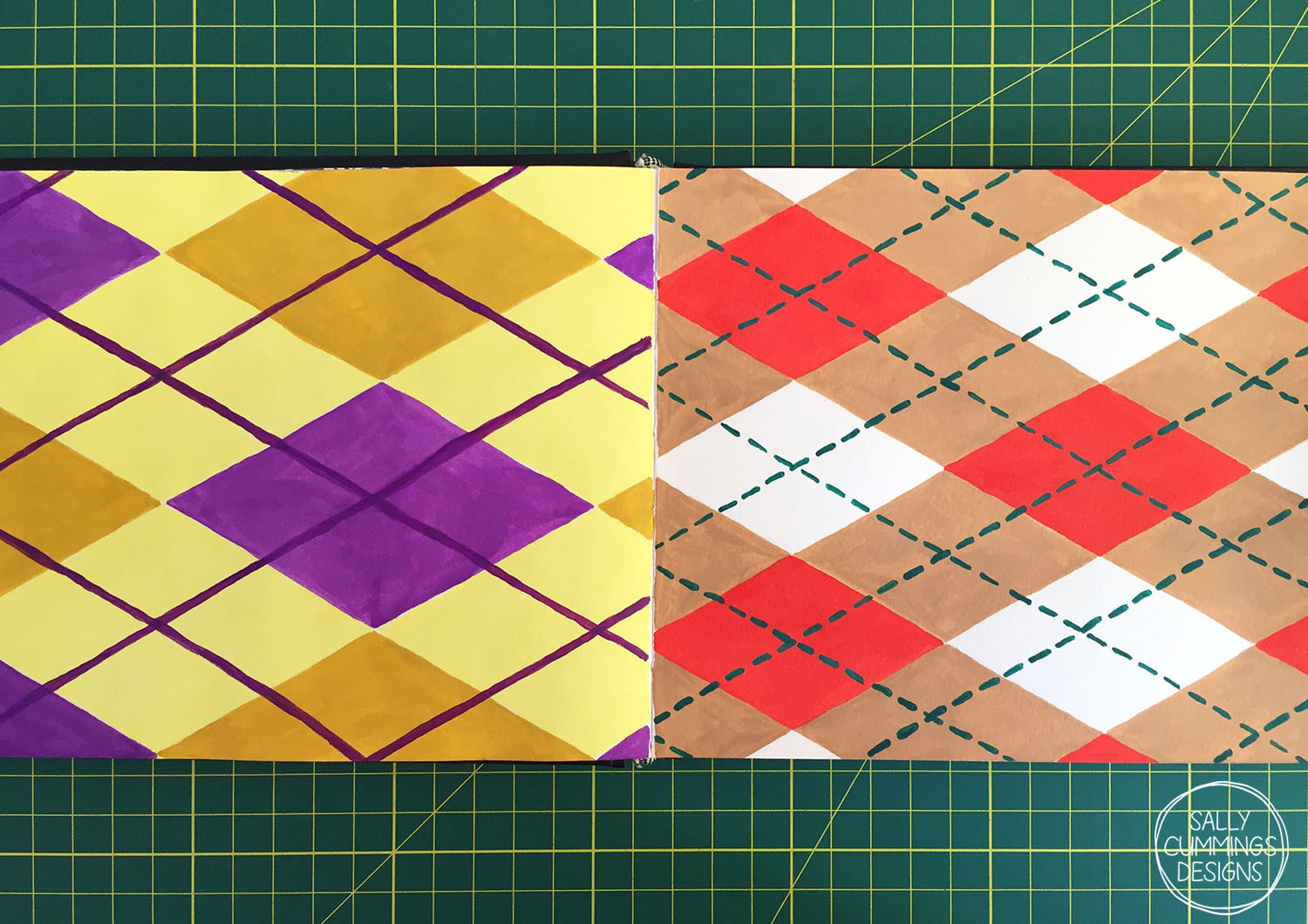 Argyle pattern, painted in gouache