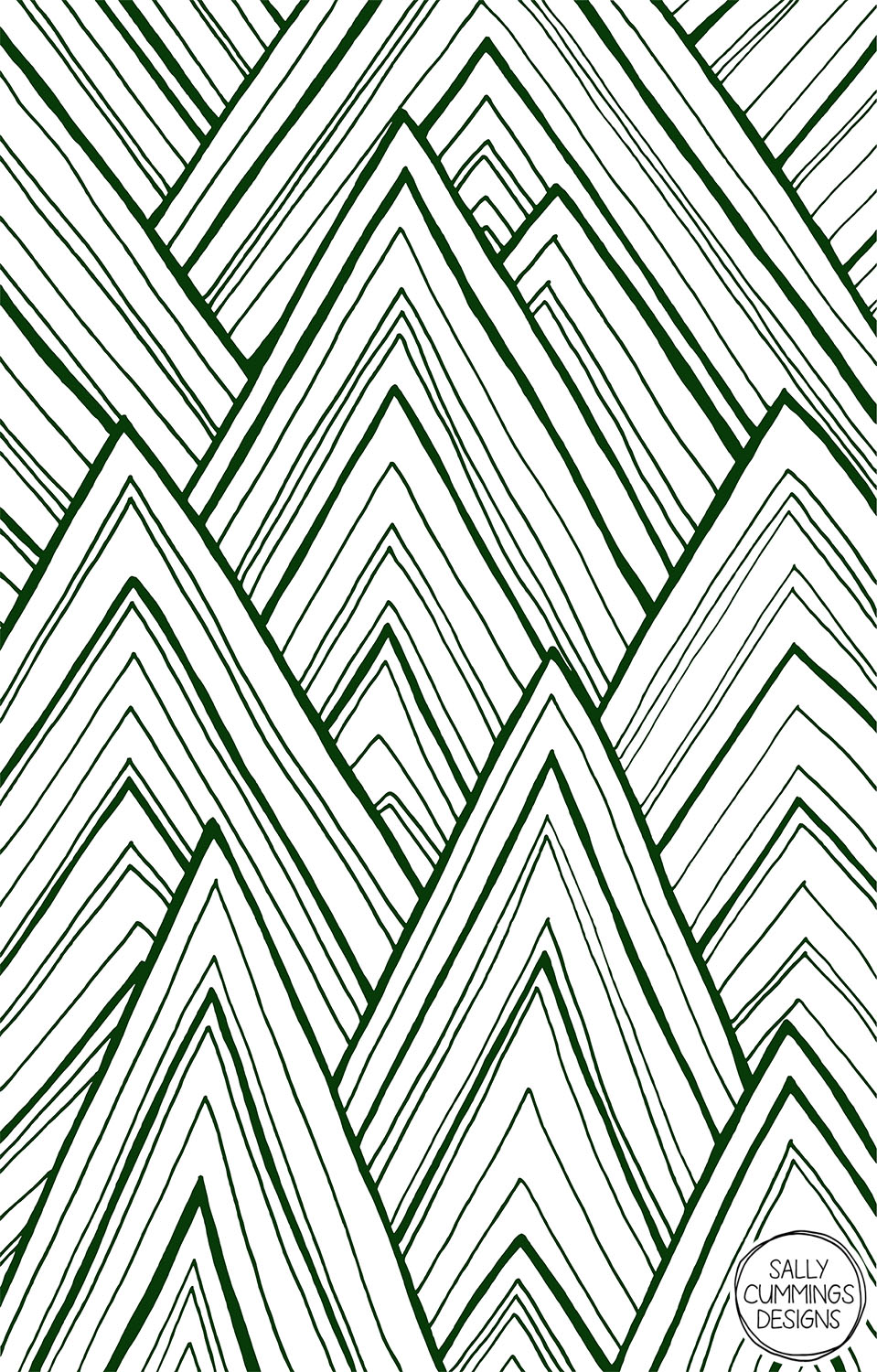 Sally Cummings Designs - Stripe Mountains (Dark Green)