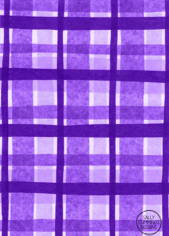 Sally Cummings Designs - Tissue Paper Plaid (Purple)