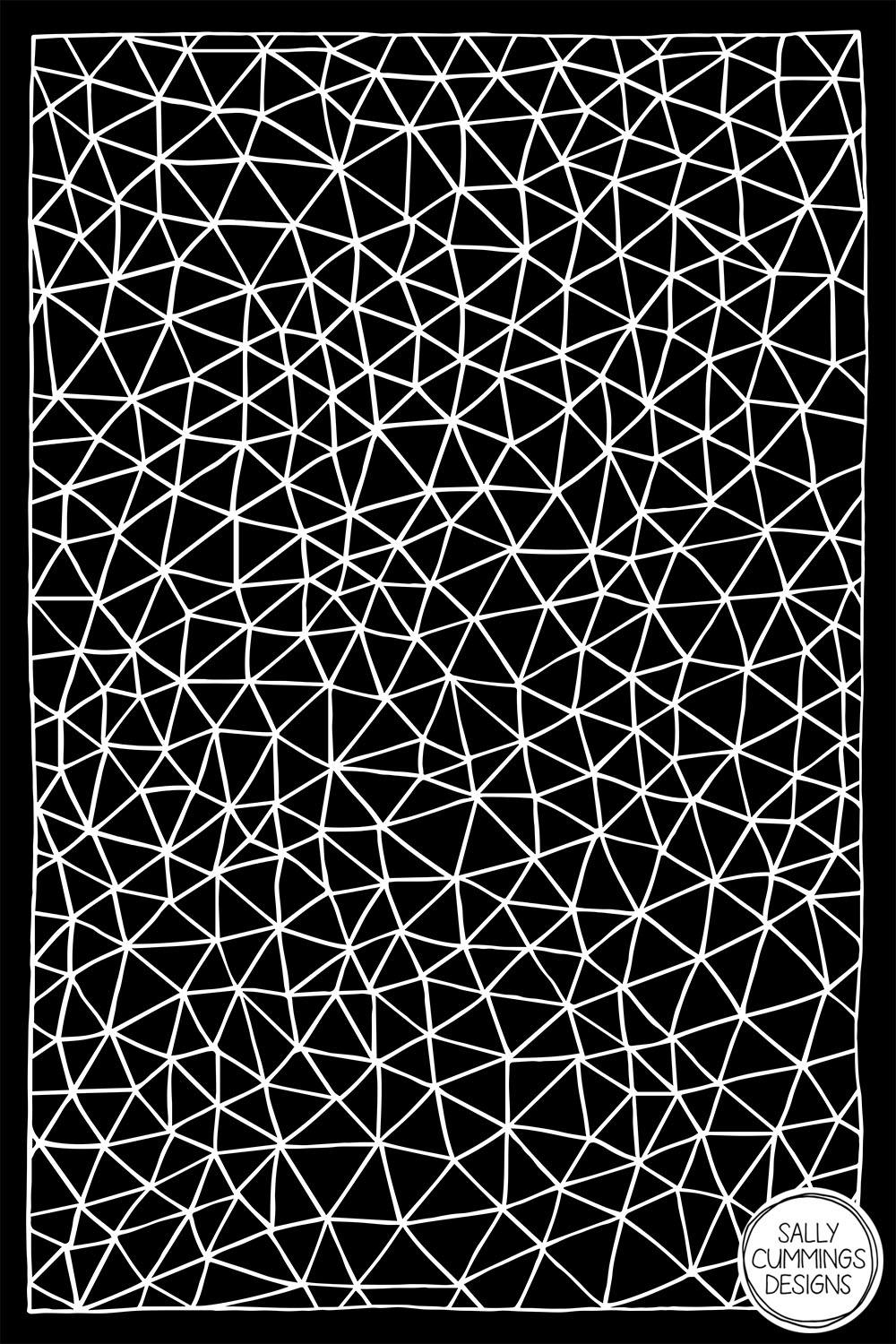 Sally Cummings Designs - Connectivity (White on Black)