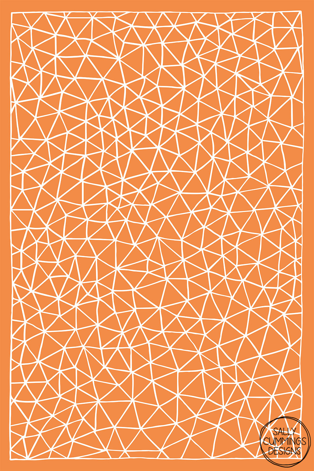 Sally Cummings Designs - Connectivity (White on Orange)
