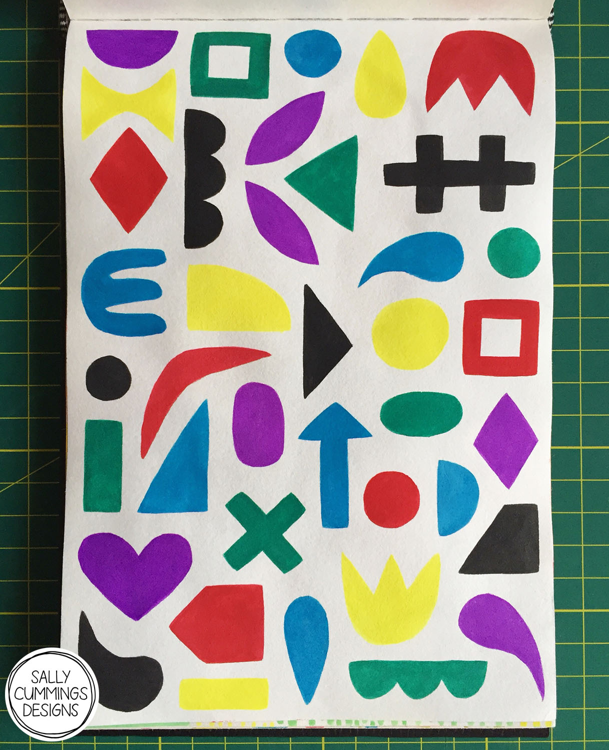 Geometric shapes pattern, painted in gouache