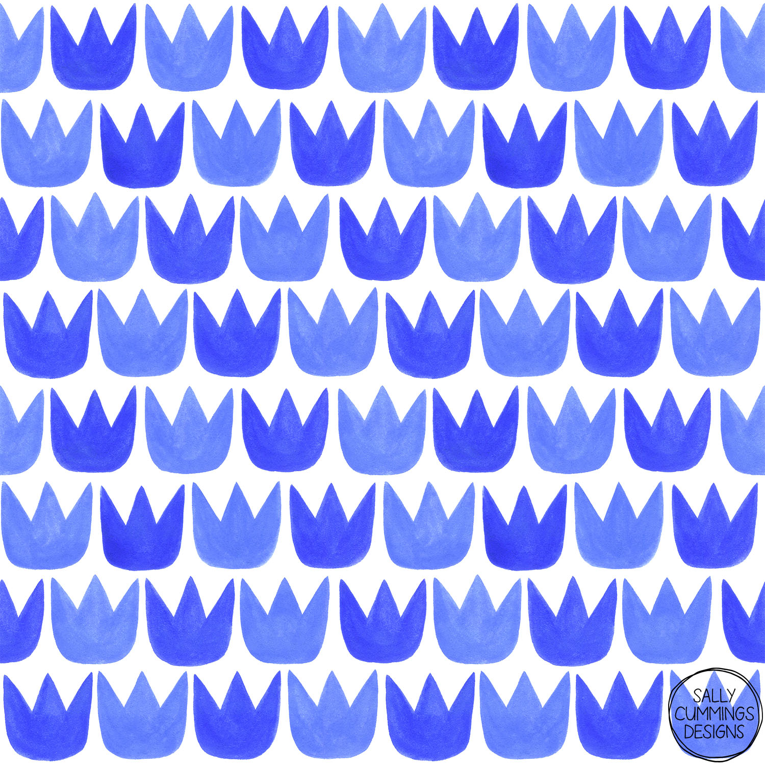 Sally Cummings Designs - Tiptoe Tulips Blue Pattern
