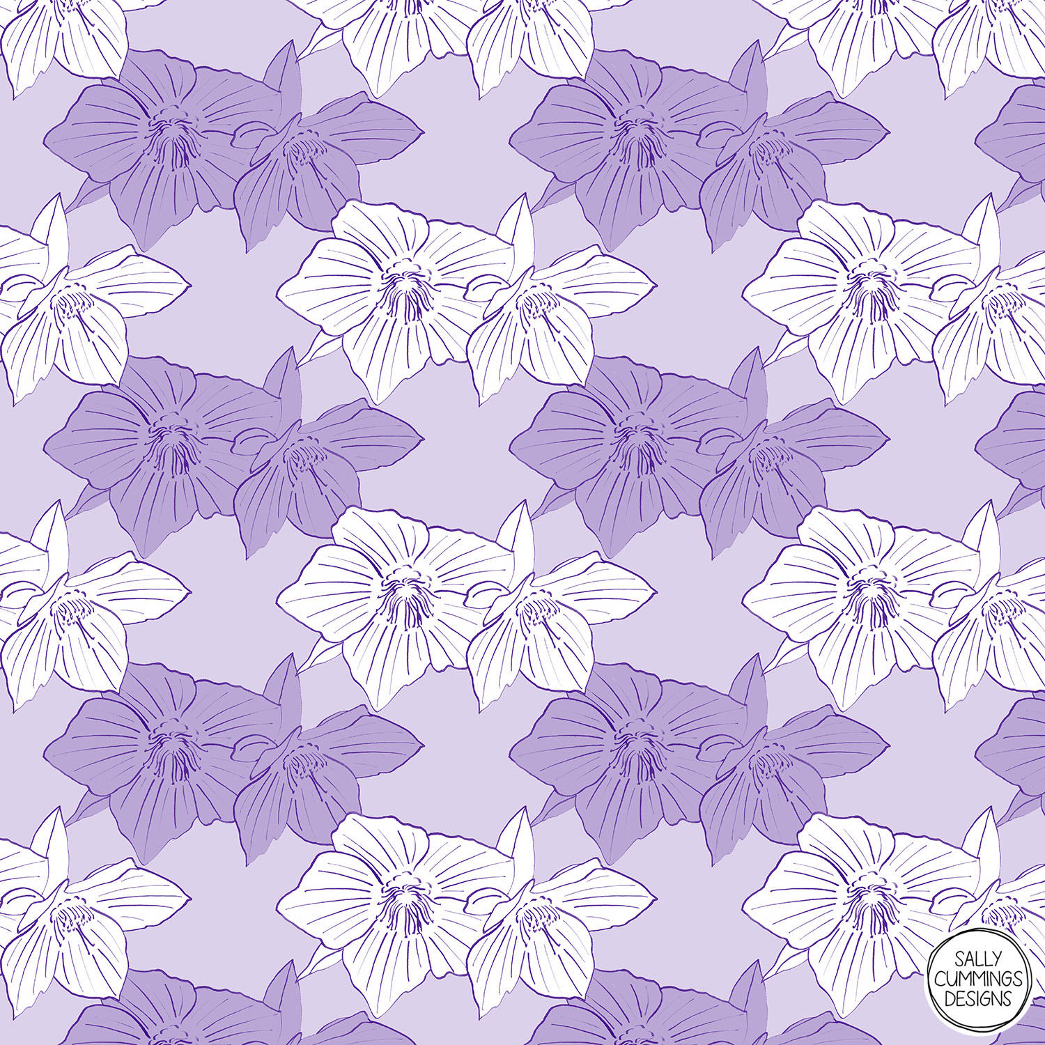 Sally Cummings Designs - Purple Hellebores Pattern