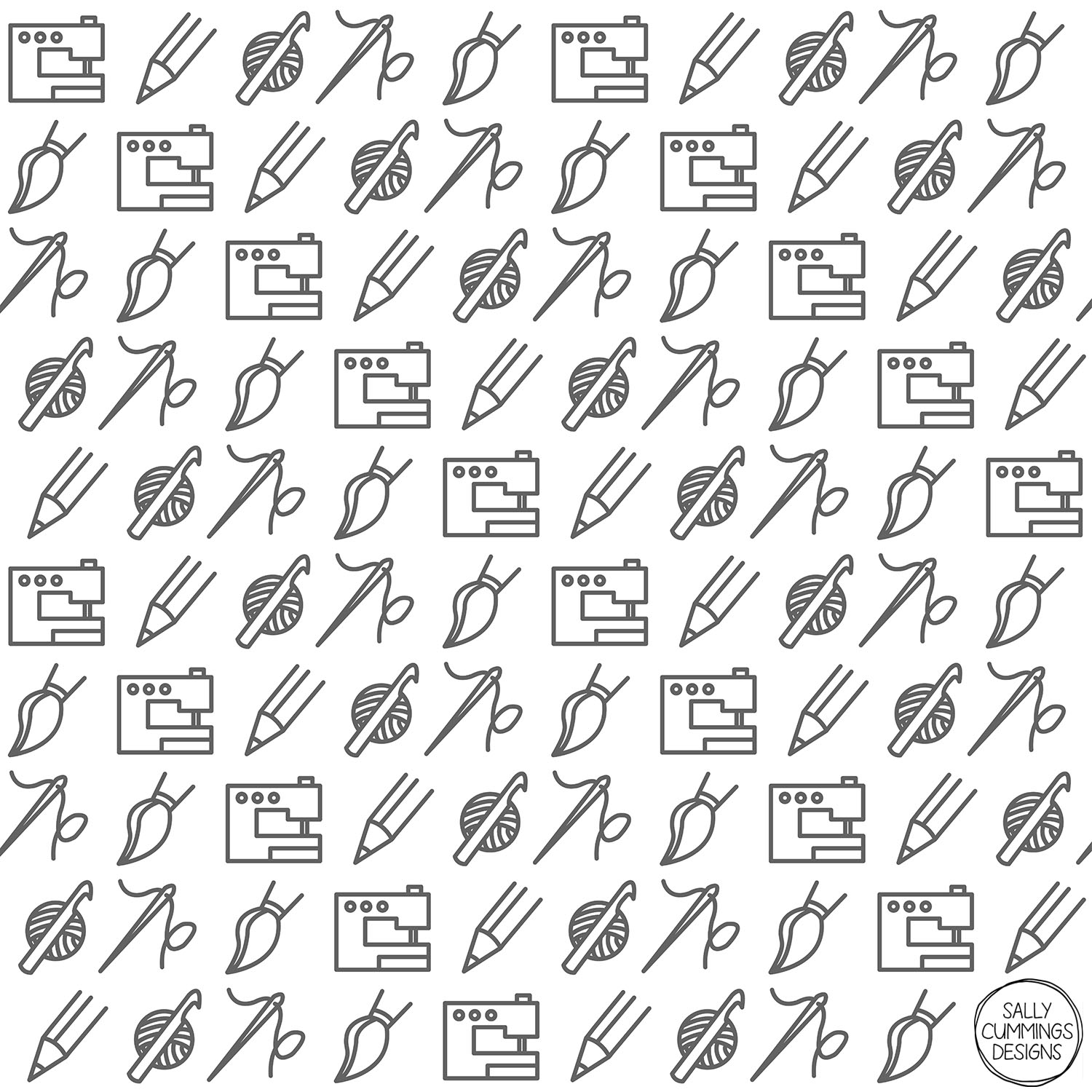 Sally Cummings Designs - Crafty Icons Pattern (Grey)