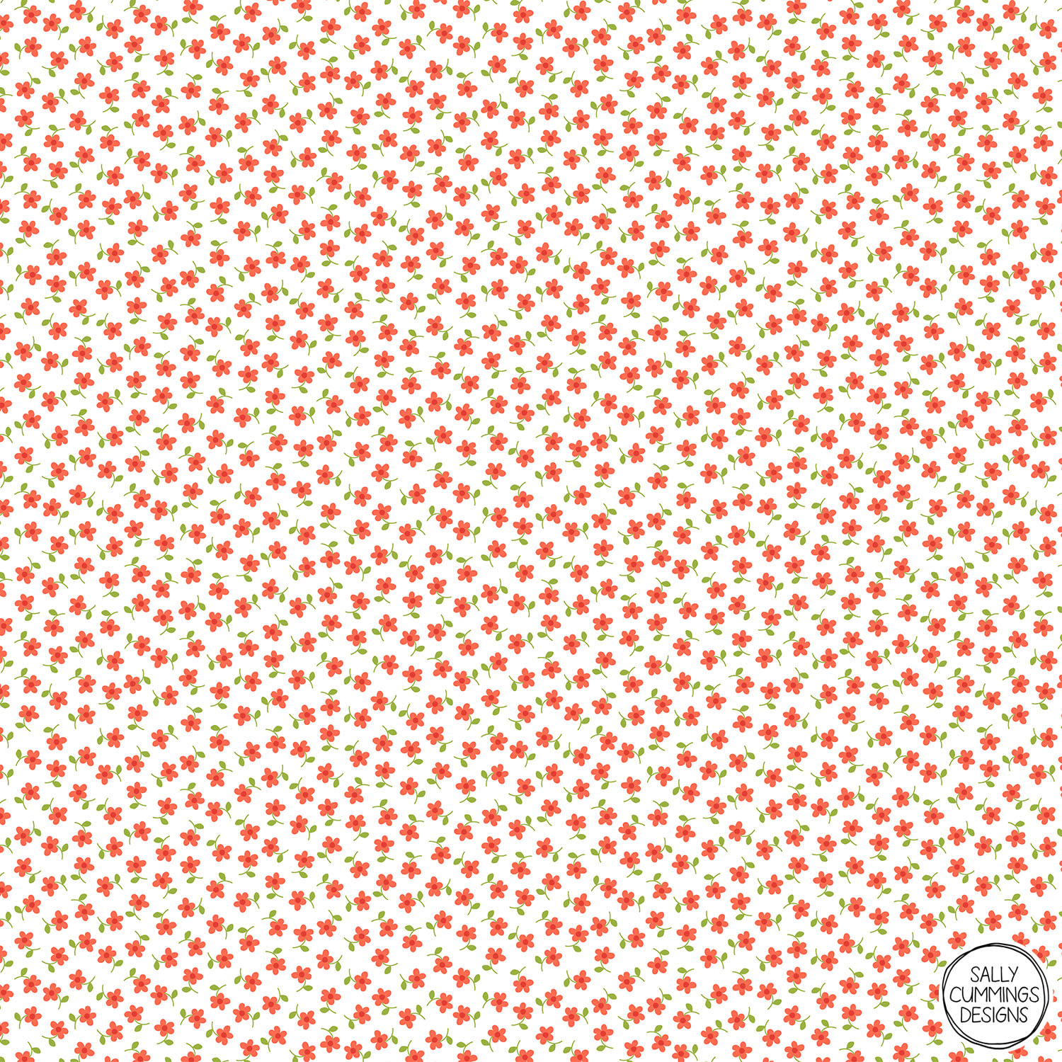 Sally Cummings Designs - Ditsy Floral Pattern (Coral and Green on White)