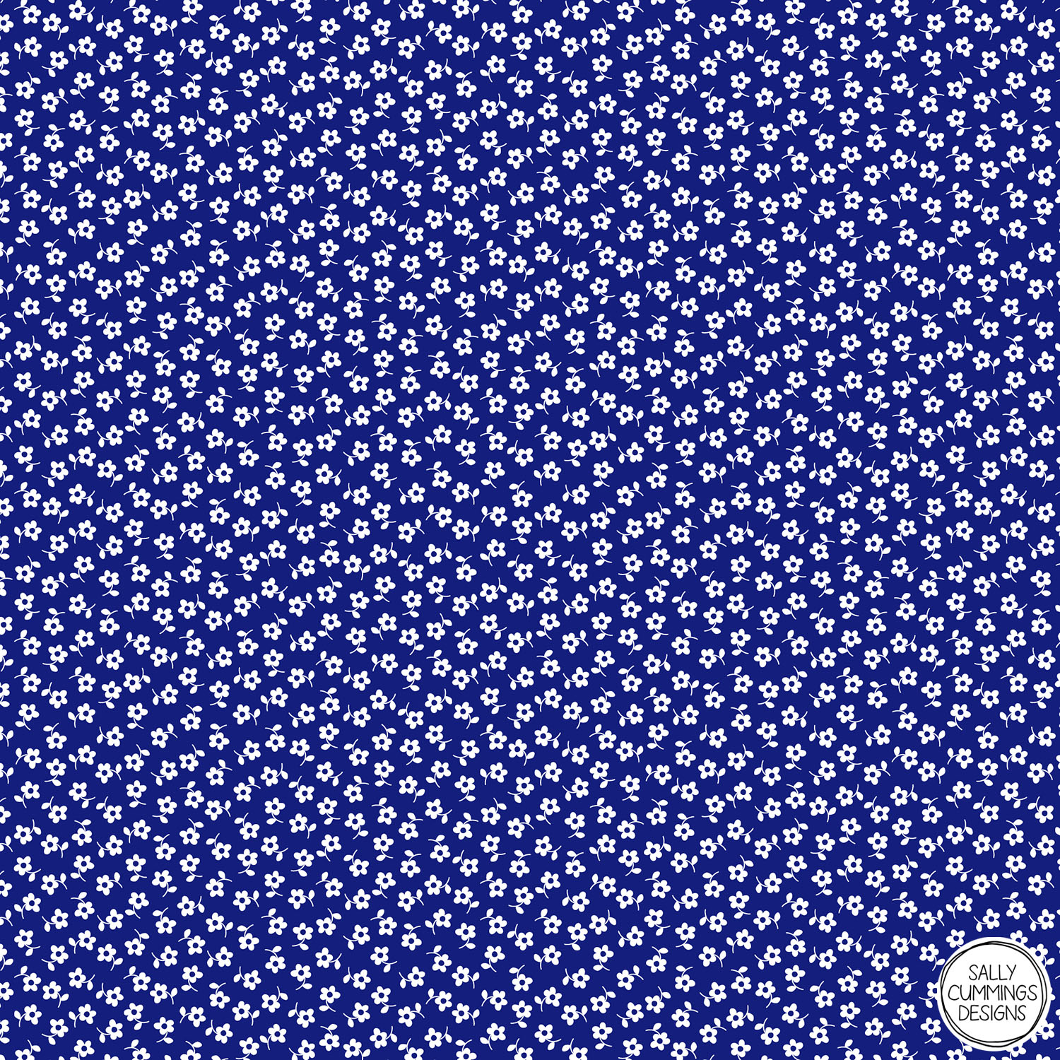 Sally Cummings Designs - Forget Me Nots Pattern (White on Blue)