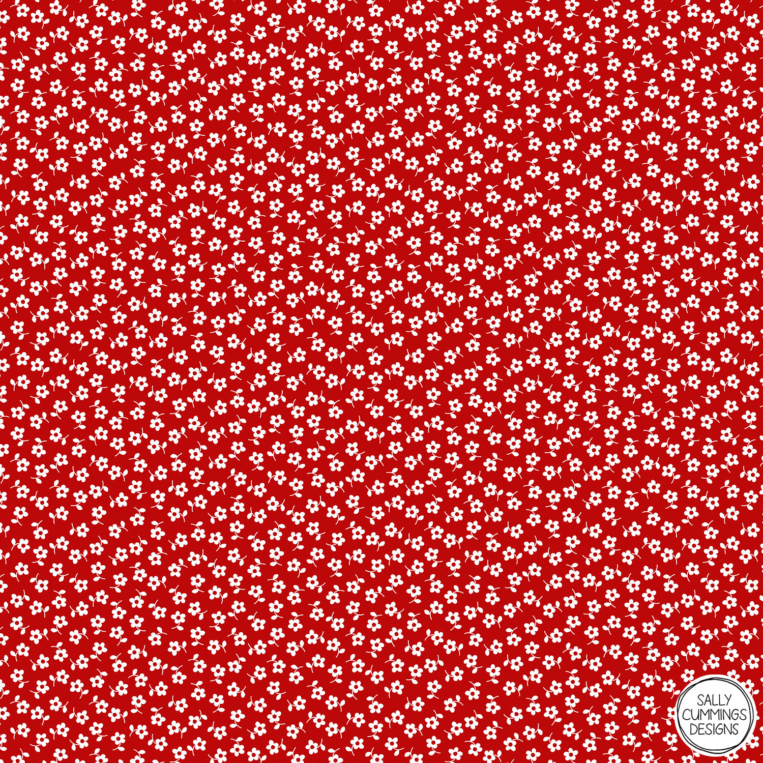 Sally Cummings Designs - Forget Me Nots Pattern (White on Red)