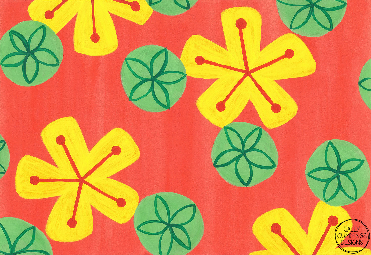 Sally Cummings Designs - Bright Retro Floral