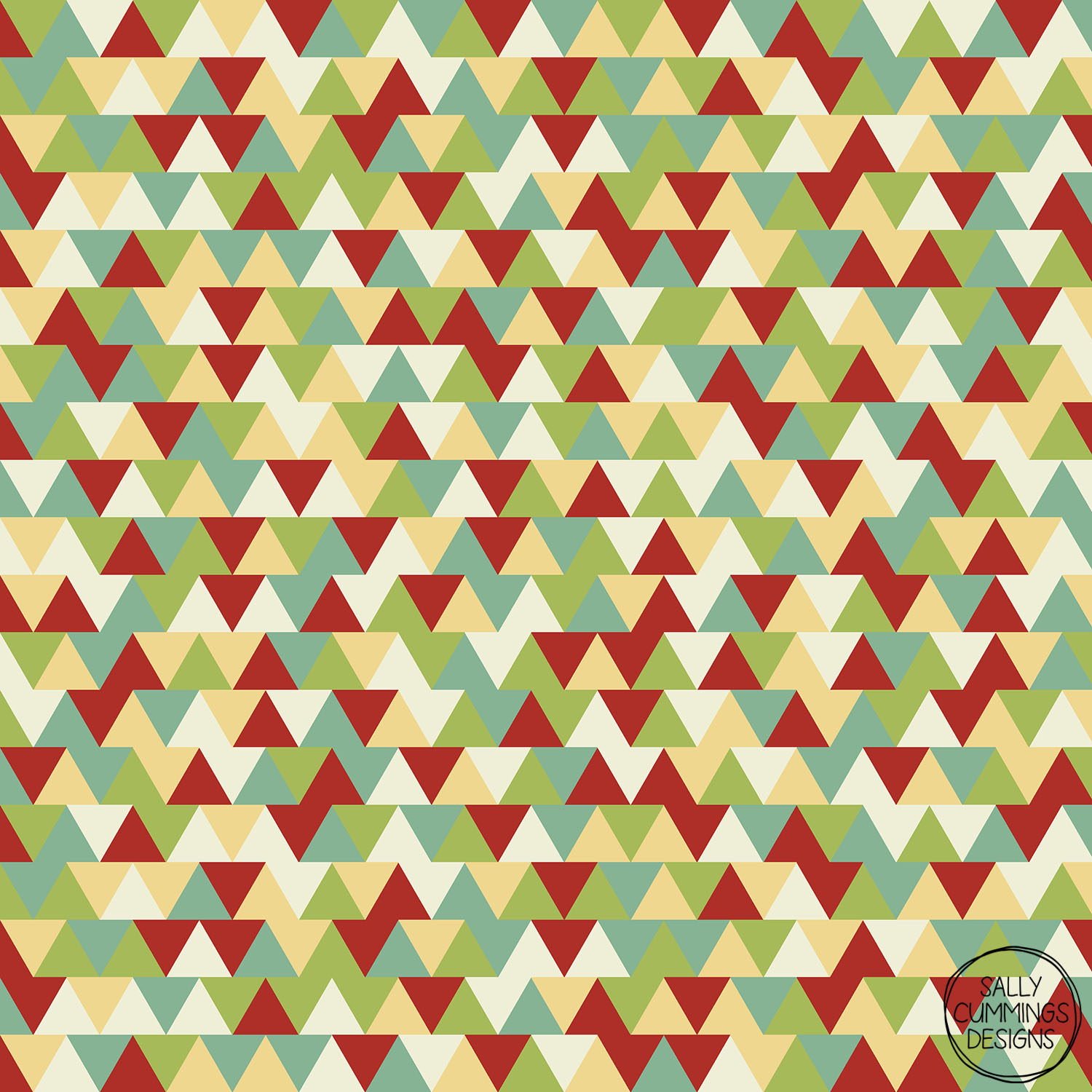 Sally Cummings Designs - Retro Christmas Triangles Pattern