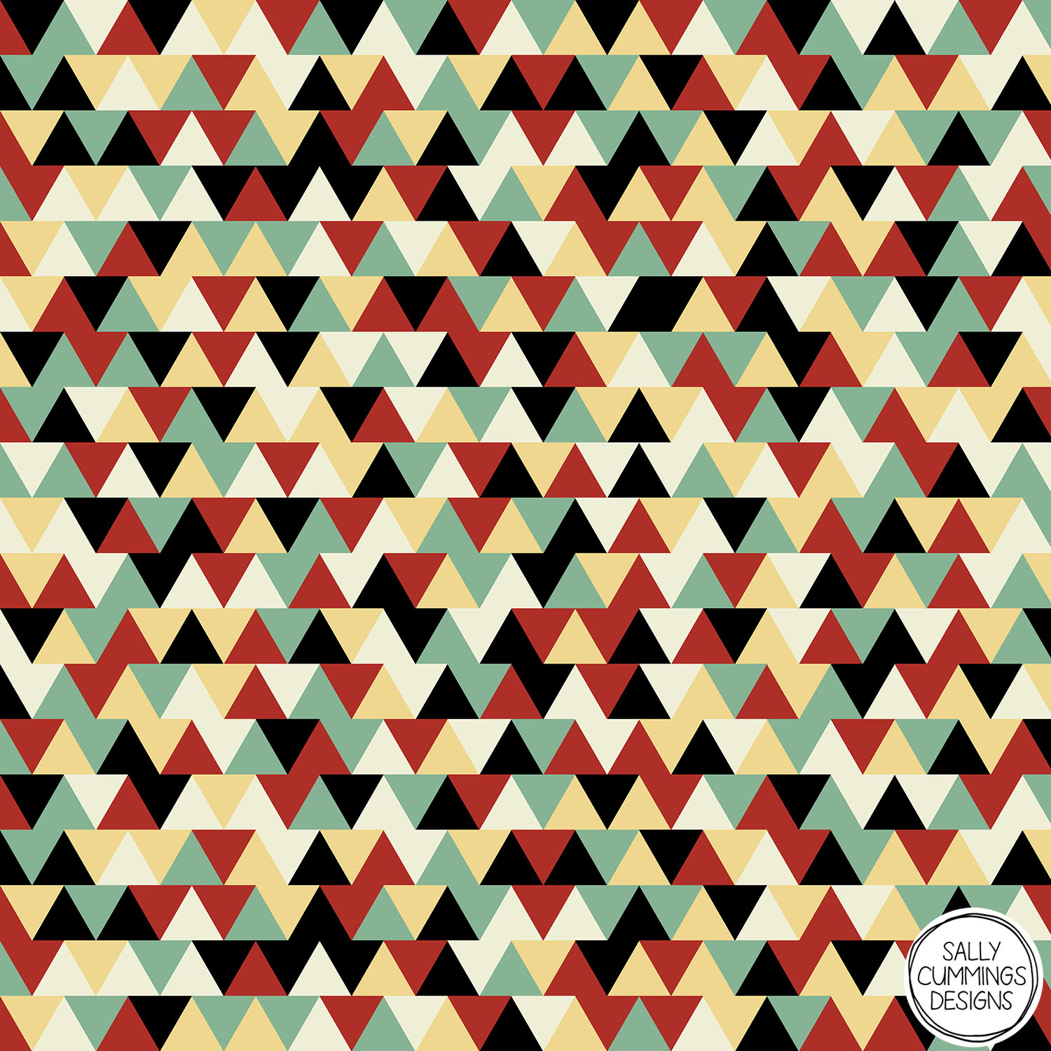 Sally Cummings Designs - Retro Linoleum Triangles Pattern