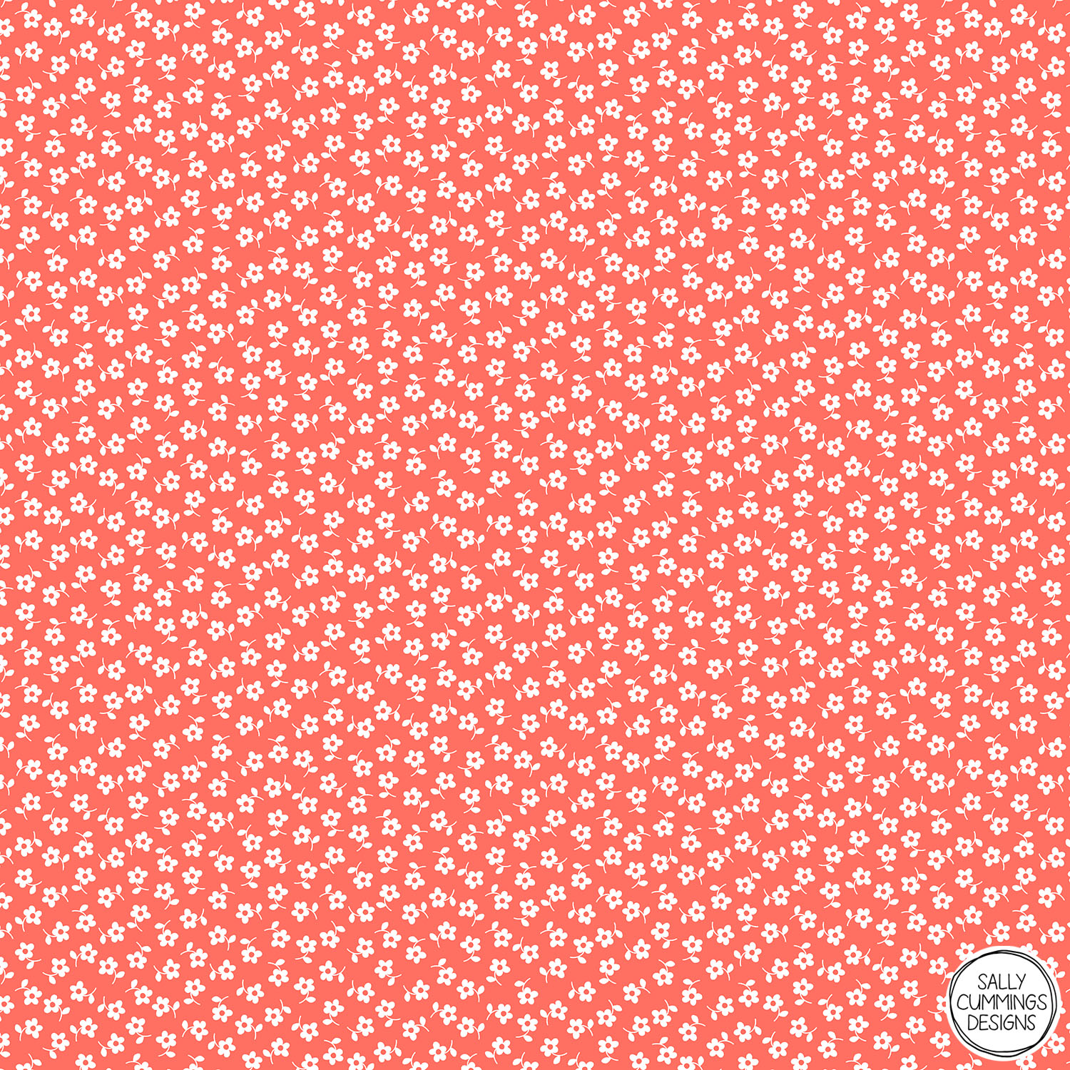 Sally Cummings Designs - Forget Me Nots Pattern (White on Living Coral)