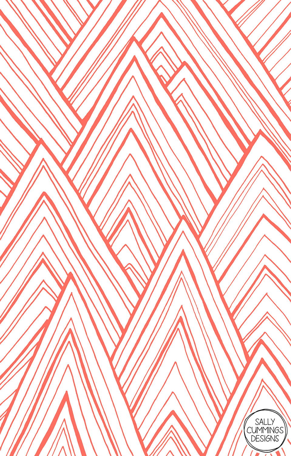 Sally Cummings Designs - Stripe Mountains (Living Coral)