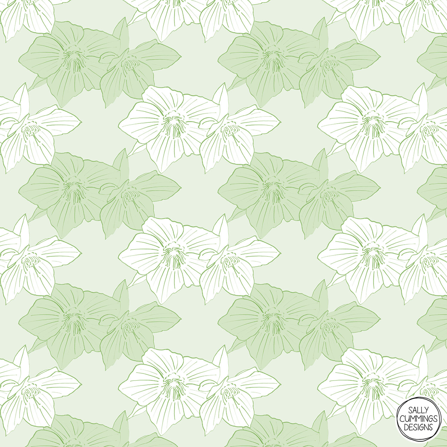 Sally Cummings Designs - Green Hellebores Pattern